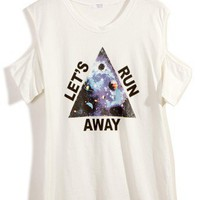 Triangle Print Cut Out T-shirt in White - New Arrivals - Retro, Indie and Unique Fashion