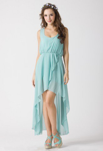 Turquoise Asymmetric Waterfall Dress by Chic+ - Retro, Indie and Unique Fashion