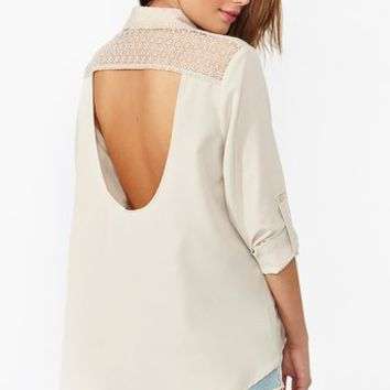 Lace Cutout Blouse - Bone