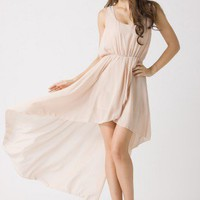 Nude Asymmetric Waterfall Dress by Chic+ - Retro, Indie and Unique Fashion