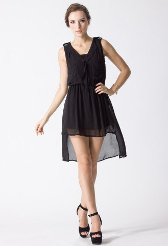 Laidback Artist Waterfall Dress in Black - Retro, Indie and Unique Fashion