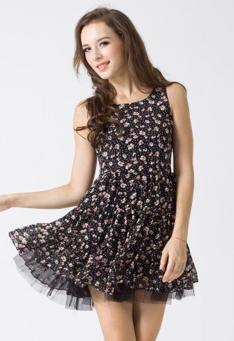 Triple Layers Floral Tulle Dress in Black - Retro, Indie and Unique Fashion