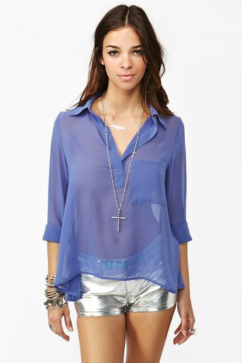 Sheer Pocket Blouse