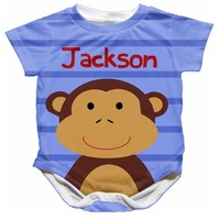 Personalized Baby Monkey Onesuit - Available 0-24 Months