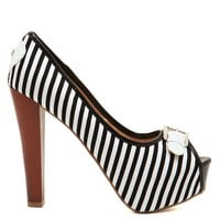 Black &amp; White Stripe Vixen Heels