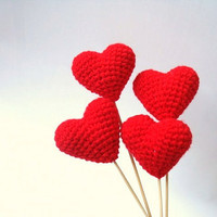 Crochet Red Hearts (Set of 4) Cake Topper, For Valentine