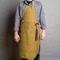 Tin Cloth Shop Apron, Oiled Cotton, Waterproof