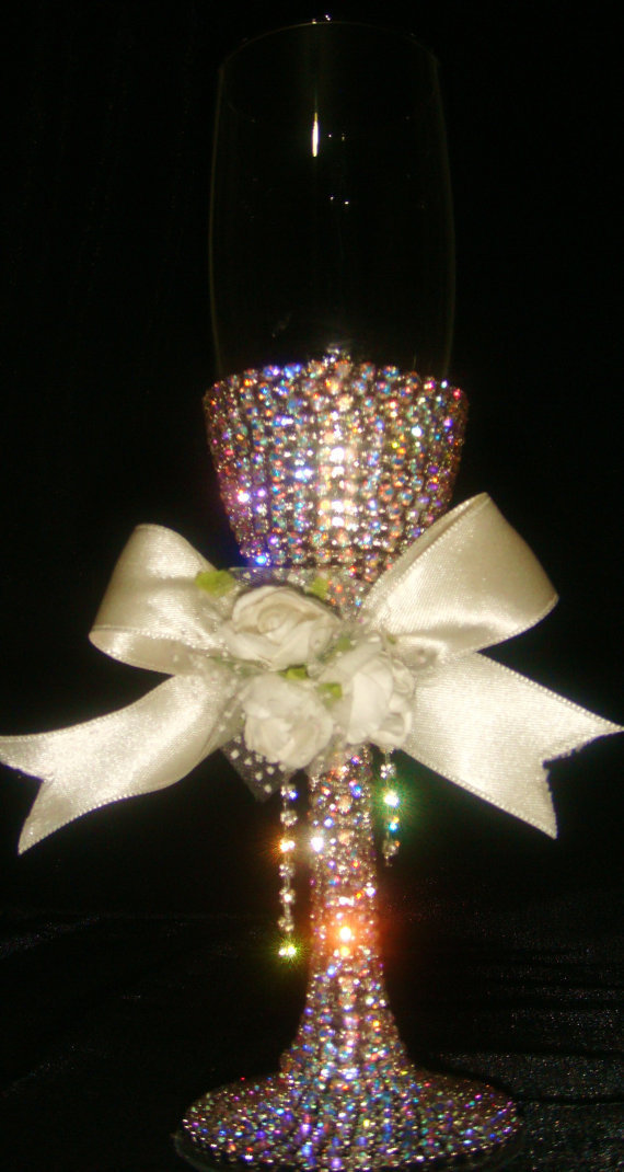 Custom designed handmade wedding flute with multicolor swarovski elements
