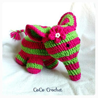 Crocheted Elephant Watermelephant with flower embellishment Amigurumi