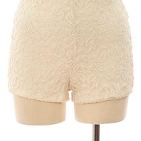 Ivory Fitted Lace Shorts
