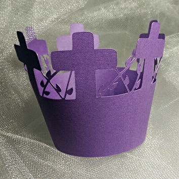 Purple Cross Cupcake Wrapper, Communions, Baptism, Confirmations, Weddings