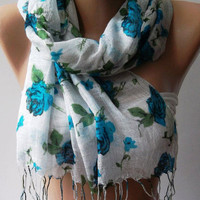 Blue  Flowers  - Silky Touch - Elegance Shawl / Scarf.