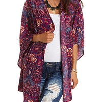 Open Front Paisley and Floral Print Kimono Top