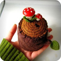 Tree Stump Pincushion by hitree on Etsy