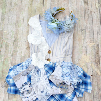 Autumn vest, Shabby lagenlook lace and flannel vest, Boho cottage chic clothes, Romantic fall flannel, Country chic, True rebel clothing