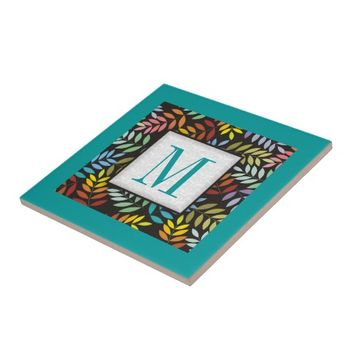 Colorful leaves pattern in rainbow colors teal ceramic tile