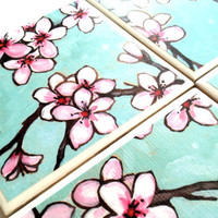 Single Ceramic Tile Coaster Cherry Blossom Pink Turquoise