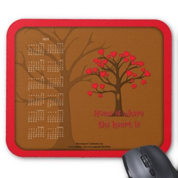 2015 Calendar Mousepad-Home Heart Quotes, RED