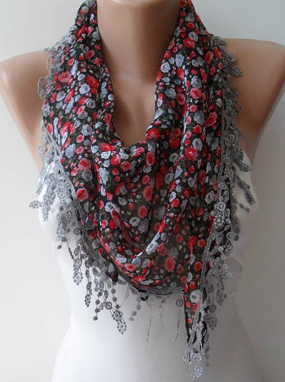 SALE - Red and Grey Flowered Chiffon Scarf with Grey Trim Edge - Triangular