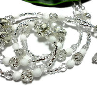 Beaded Lanyard Necklace Rhinestone Silver Crystal and White Handmade with Angel Strong Breakaway Fashion Jewelry Women Id Badge
