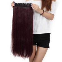 Us.store 120g Width 25cm 23'' Long New Straight Clip in on Hair Extensions 3/4 Full Head One Piece 5clips Wine Red:Amazon:Beauty