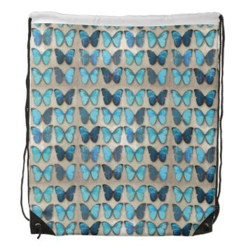 Blue Butterflies Drawstring Backpack