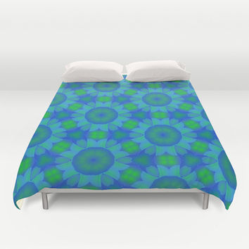 Blue and Green Kaleidoscope Abstract Duvet Cover by pugmom4