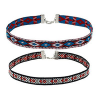 Navaho Patterned Woven Choker - Red