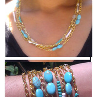 Bohemian Layered Gold Chain and Turquoise Bracelet / Necklace