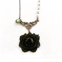 Black Rose Necklace Pearl Necklace Art Deco Style Green Charm - Part Deux