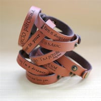 Your favorite quote --- custom engraved 1/2&quot; leather bracelet