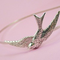 Bird headband swallow silver by mylavaliere on Etsy