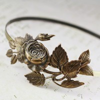 Brass garden rose headband floral antique style by mylavaliere