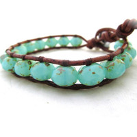 Seafoam Picasso Czech Bead Leather Wrap Bracelet. BoHo Beach Wrap on Distressed Brown Greek Leather. Handmade on Maui, Hawaii