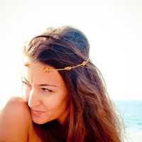 Boho Chic Mustard gold brown beaded crochet headband strand. Versatile necklace / bracelet / anklet / hair band. CIJ - free shipping