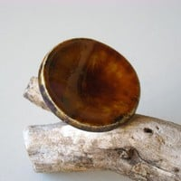 Round Brown Ring, Fashion Jewelry, .. on Luulla