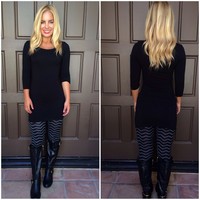 Zig Zag Jersey Leggings - BLACK