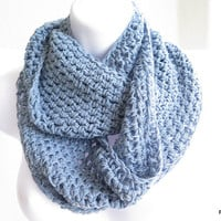 Soft blue cowl, crochet loop scarf, infinity scarf neck warmer, gift under 40