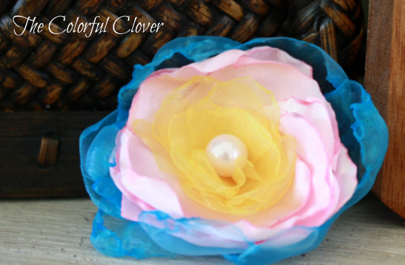 Colorful Sunshine Headband - Turqouise, Baby Pink, Yellow with Baby Pink Pearl.Handmade Organza & Satin Pearl.Infant  Adult Hair Accessory.