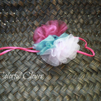 Neapolitan Organza Pompom Headband on a 1/8&quot; skinny hot pink elastic. Baby girl headband. Infant Headband. Photo prop.