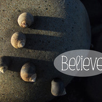 """Inspirational Poster – 8x10 Wall Art Print – Inspirational Quote """"Believe"""" – Abstract Nature Photography – Snails on Rock - INSTANT DOWNLOAD"""
