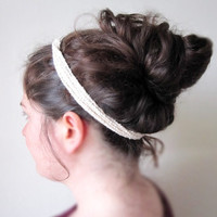 Chaînette Headband in Natural Color Organic Cotton AND Versatile Pastel Necklace Bracelet - Featured on elle.fr, By DoucesLaines in Europe