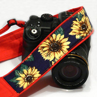 Sunflowers Camera Strap, Yellow, Dark  Blue, Red Camera Strap, Nikon, Canon Camera Strap, Women Accessories
