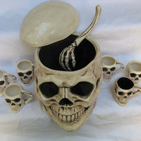Halloween Party ceramic Skull punch bowl with laddle & cups OOAK Dia de los Muertos Day of the Dead