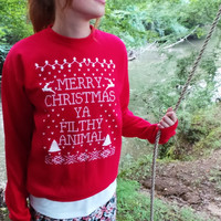 #christmas #sweater #ugly #winter #clothing Merry Christmas Ya Filthy Animal. Ugly Christmas Sweater. Home Alone