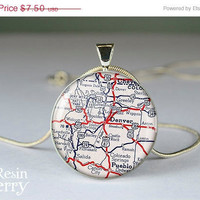 ON SALE: photo pendant,jewelry pendant,vintage Denver map resin pendants,charm jewelry- M0073CP