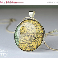 Louisville, Kentucky map pendant, map necklace resin pendant, vintage map necklace charm
