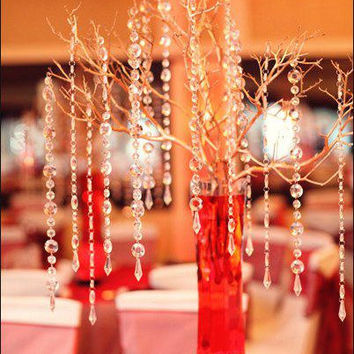 25 Ft. Glass Crystal Strands Glass Crystal Garlands Hanging Crystal Strands Wholesale Manzanita Crystals Wishing Tree Crystals Bulk Crystals