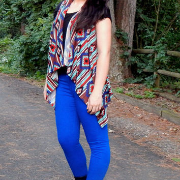 Aztec Sleeveless Cardigan {Mint+Red+Royal}