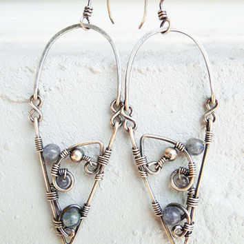 Mystic silver earrings with iolite